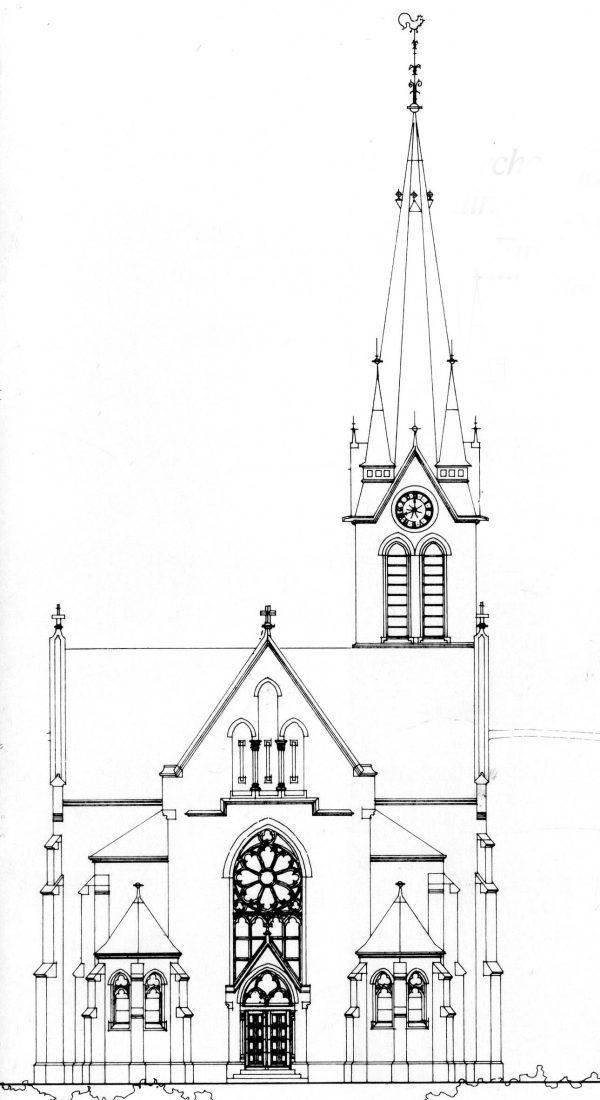 ein-01-Kirche- Zeichn-Ansicht- West